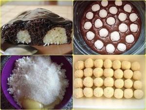 Шоколадный пирог с творожными шариками фото