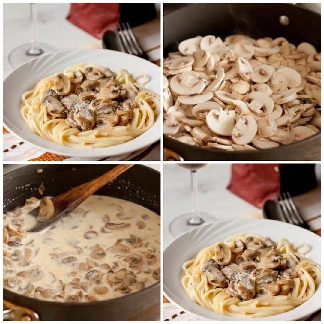 Спагетти со сливочно–грибным соусом