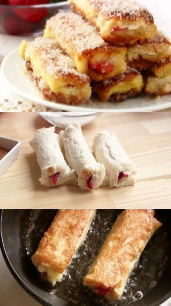Вкусный, необычный и быстрый в приготовлении семейный завтрак. Гренки в рулетиках с начинкой