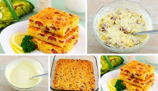 Пирог с сыром и сосисками фото