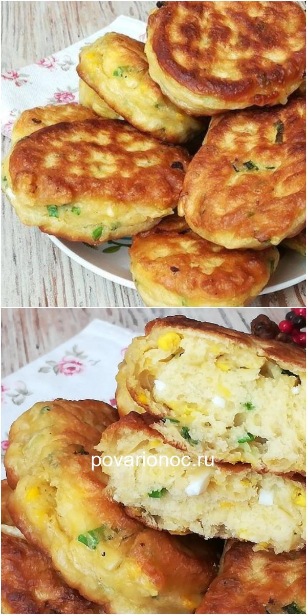 Вкусные Ленивые пирожки с зеленым луком и вареными яйцами. Или это все-таки оладьи